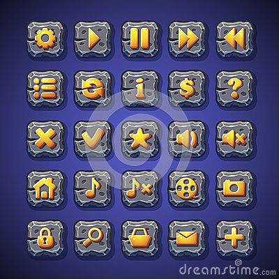 Free Set Of Buttons Pause, Play, Home, Search, Shopping Cart For Use In The User Interface Of Computer Games, And Web Design Royalty Free Stock Images - 47610849