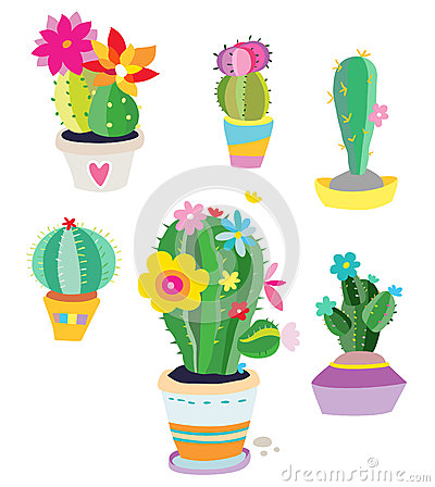 Free Set Of Cactus Plants Royalty Free Stock Photography - 25629967