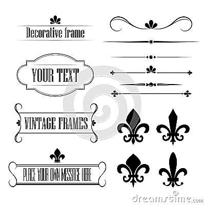 Free Set Of Calligraphic Flourish Design Elements, Borders And Frames - Fleur De Lis Vol 3 Royalty Free Stock Photo - 43529565