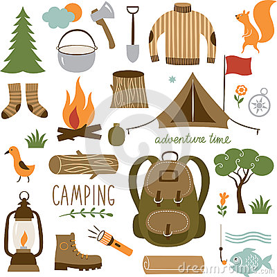 Free Set Of Camping Equipment Icon Set Royalty Free Stock Photos - 44884948