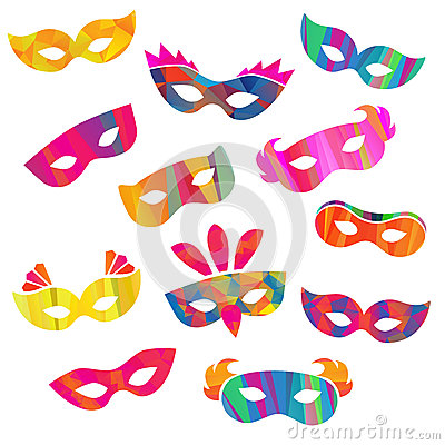 Free Set Of Carnival Masks Different Forms Royalty Free Stock Images - 55533449