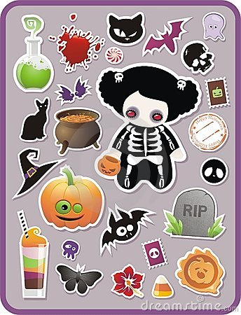 Free Set Of Cartoon Halloween Sticker Royalty Free Stock Photography - 11239187