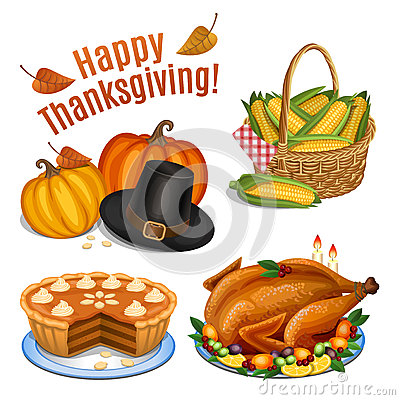 Free Set Of Cartoon Icons For Thanksgiving Dinner, Roast Turkey Royalty Free Stock Photos - 60967738