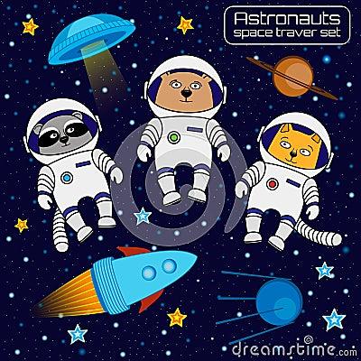 Free Set Of Cat, Bear And Raccoon Astronauts Cosmonauts Rocket, Ufo, Stock Photography - 66402992