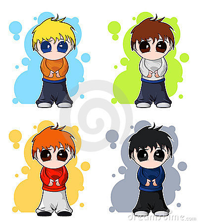 Free Set Of Chibi Vector Cute Boys Royalty Free Stock Images - 7733539