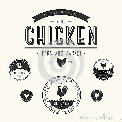 Free Set Of Chicken Farm And Market Labels Stock Photo - 37692590