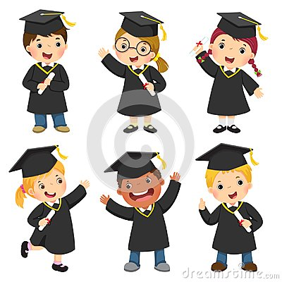 Free Set Of Children In A Graduation Gown And Mortar Board Stock Images - 111701664