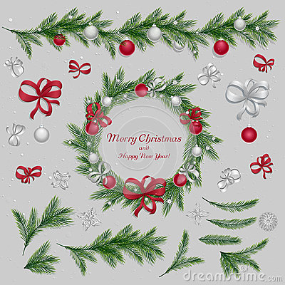 Free Set Of Christmas Decorations. Red And Silver Colors Royalty Free Stock Photography - 62811437