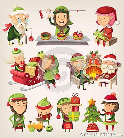 Free Set Of Christmas Elves Stock Photo - 48037830