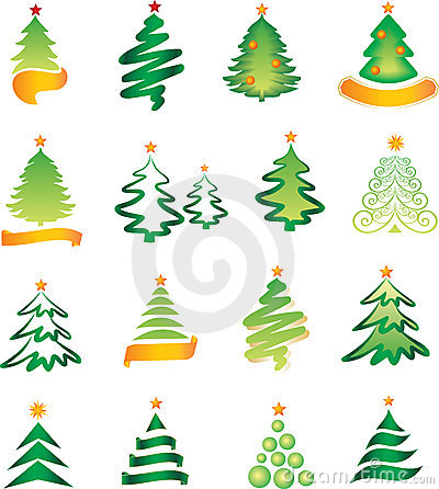 Free Set Of Christmas Firs Royalty Free Stock Photos - 6824358