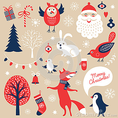 Free Set Of Christmas Graphic Elements Stock Image - 44886341