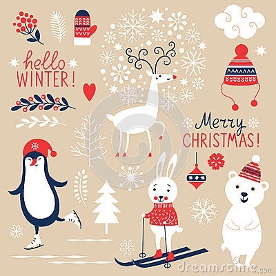 Free Set Of Christmas Graphic Elements Stock Photos - 44887843
