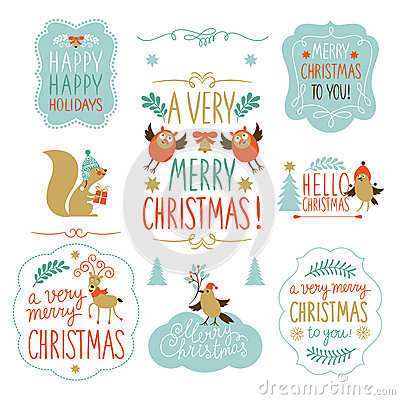 Free Set Of Christmas Lettering And Graphic Elements Royalty Free Stock Photo - 35299345