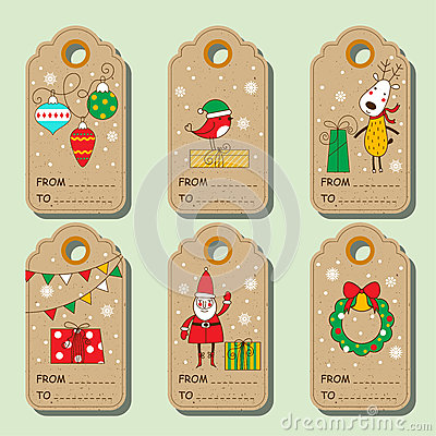 Free Set Of Christmas Paper Tags. Royalty Free Stock Photo - 78017835