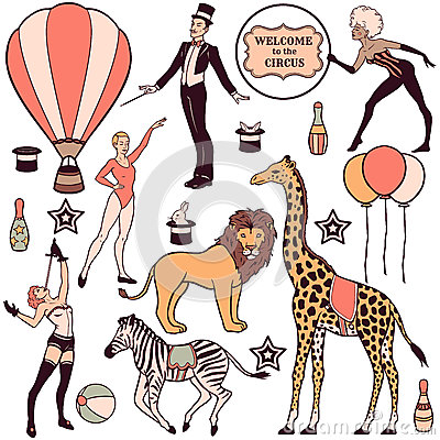 Free Set Of Circus Elements, People, Animals And Decorations Stock Photos - 46193343