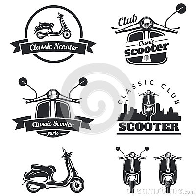 Free Set Of Classic Scooter Emblems, Icons And Badges. Urban, Street Royalty Free Stock Photos - 61549258
