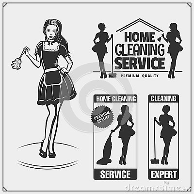 Free Set Of Cleaning Service Emblems With Beautiful Young Maid. Clining Badges, Labels And Design Elements. Vintage Style. Royalty Free Stock Images - 122110669