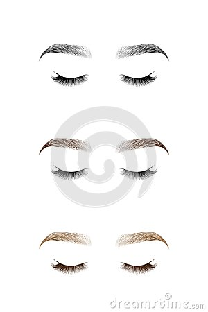 Free Set Of Closed Eye With Long Eyelashes And Eyebrows. Royalty Free Stock Photos - 104534408