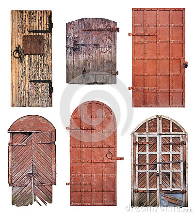Free Set Of Closed Old Doors Isolated On White Royalty Free Stock Image - 67783086