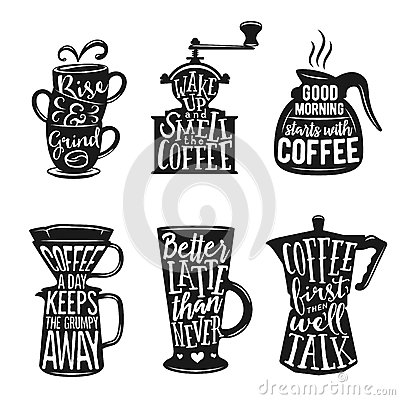 Free Set Of Coffee Related Typography. Quotes About Coffee. Vintage Vector Illustrations. Royalty Free Stock Photo - 66412285