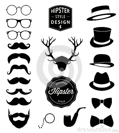 Free Set Of Collection Vintage Fashion Elements. Vector Illustration Royalty Free Stock Photography - 41469147