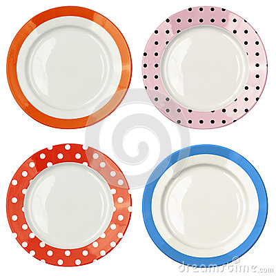 Free Set Of Color Plates With Polka Dot Pattern Isolated Stock Photography - 31233572