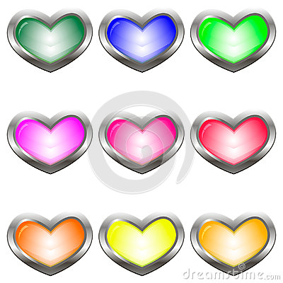 Free Set Of Colored Buttons In The Shape Of A Heart Stock Photography - 96292912