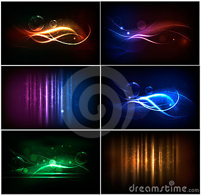 Free Set Of Colorful Abstract Neon Backgrounds. Stock Photo - 20920130