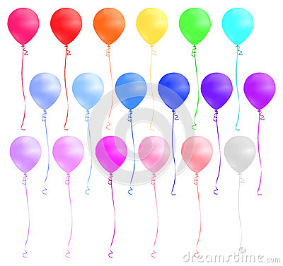 Free Set Of Colorful Balloons Isolated On White Background. Vector Illustration. Royalty Free Stock Images - 69429499