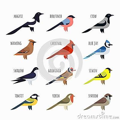 Free Set Of Colorful Bird Icons. Cardinal, Magpie, Sparrow Stock Photo - 65907390