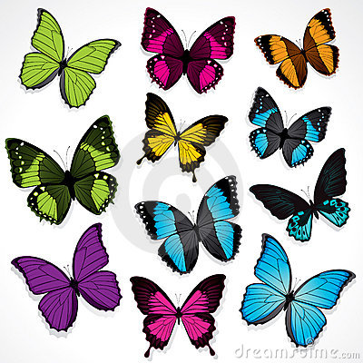 Free Set Of Colorful Butterflies Royalty Free Stock Image - 9963506