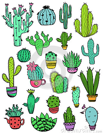 Free Set Of Colorful Cactus Icons. Royalty Free Stock Photography - 92914537