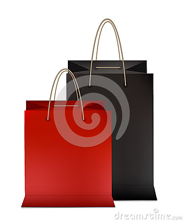 Free Set Of Colorful Empty Shopping Bags Red And Black. Vector Illustration Royalty Free Stock Photography - 82711897