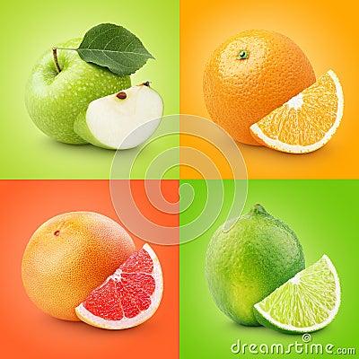 Free Set Of Colorful Fruits - Apple, Orange, Grapefruit, Lime Stock Photos - 57307823