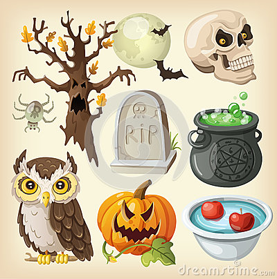 Free Set Of Colorful Items For Halloween. Royalty Free Stock Photos - 33964168