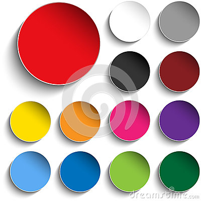 Free Set Of Colorful Paper Circle Sticker Buttons Royalty Free Stock Image - 29037056