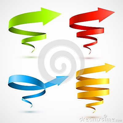 Free Set Of Colorful Spiral Arrows 3D Royalty Free Stock Image - 28677536