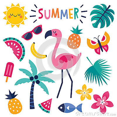 Free Set Of Colorful Summer Elements With Pink Flamingo Isolated Stock Images - 95160114
