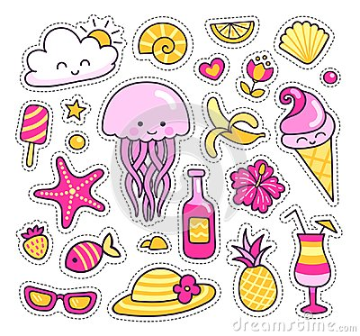 Free Set Of Colorful Summer Stickers, Patches, Badges, Pins. Cute Jellyfish, Pineapple, Cocktail, Tropical Flowers, Sun Stock Photos - 122034753