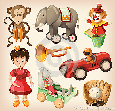Free Set Of Colorful Vintage Toys For Kids. Stock Image - 30616031