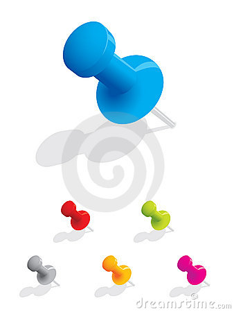 Free Set Of Colourful Push Pins Royalty Free Stock Image - 7061766
