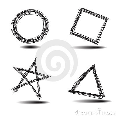 Free Set Of Common Hand Drawn Shapes Stock Photo - 10480990