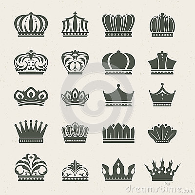 Free Set Of Crown Icons Royalty Free Stock Images - 25701119