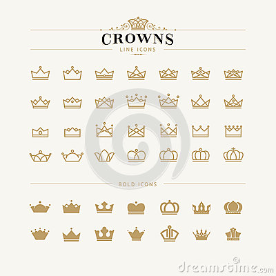 Free Set Of Crown Line And Bold Icons Stock Photos - 44384783