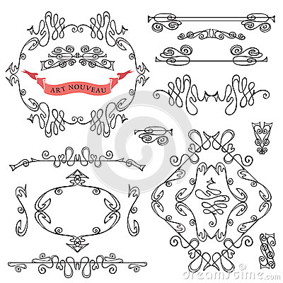 Free Set Of Curled Calligraphic Design Elements. Royalty Free Stock Image - 45749906