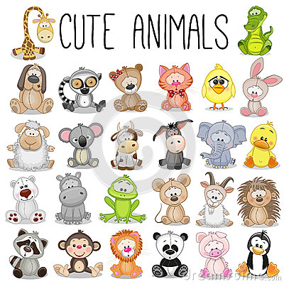 Free Set Of Cute Animals Royalty Free Stock Photo - 65607715