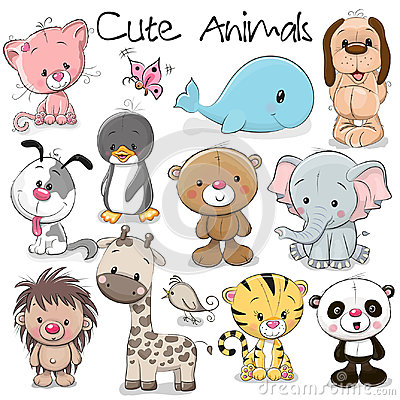 Free Set Of Cute Animals Royalty Free Stock Image - 98375546