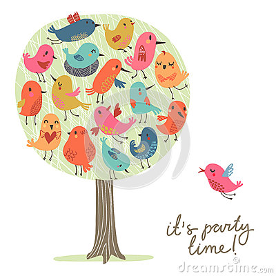 Free Set Of Cute Birds On The Tree. Bird`s Party. Royalty Free Stock Photos - 83880328