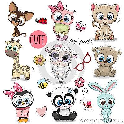 Free Set Of Cute Cartoon Animals Stock Photography - 108951672