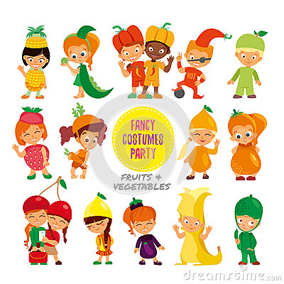 Free Set Of Cute Cartoon Kids In Fruits And Vegetables Fancy Costumes. Royalty Free Stock Photos - 69288498